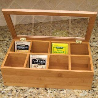 Bamboo Tea Box with Glass Lid Light Brown   8189