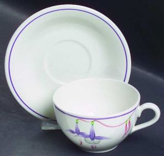 Rorstrand Poem Flat Cup & Saucer Set, Fine China Dinnerware   Lavender Bands, Fl
