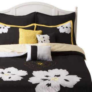 Fatima 8 Piece Comforter Set   Black/Yellow (King)