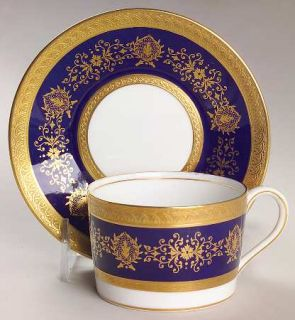 Coalport Lady Anne Cobalt Blue Flat Cup & Saucer Set, Fine China Dinnerware   Go