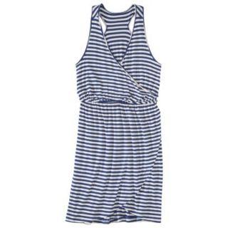 Merona Petites Sleeveless V Neck Dress   Blue/Cream XLP
