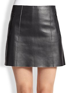 Vince Leather Mini Skirt   Black White